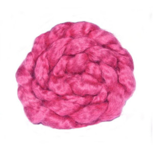 Magenta Wensleydale fibre naturally hand dyed