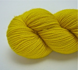 Hand dyed sock yarn, Bring me Sunshine, on British Bluefaced Leicester yarn, using natural dye