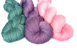 British Bluefaced Leicester and silk 2ply lace wool, hand dyed with natural dye