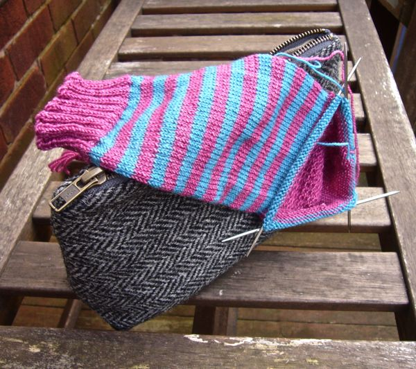 Stripy sock in progress