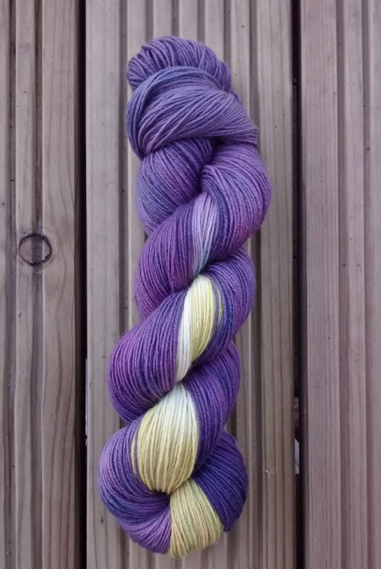 'Marie's Dad's New Boots', named after a customer asked for some purple and yellow yarn to go with her Dad's new Dr Marten boots!